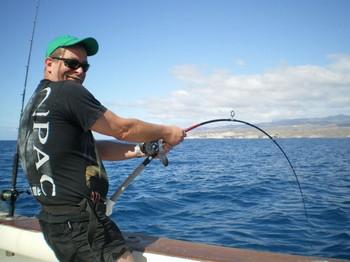 hooked up on 12lb Cavalier & Blue Marlin Sport Fishing Gran Canaria