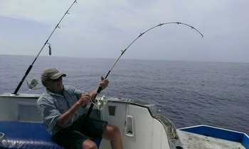 Hooked Up - Koos Groen is figthing with a heavy Stingray Cavalier & Blue Marlin Sport Fishing Gran Canaria