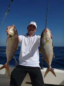 2 Amberjacks caught by Callum Imray from Scotland Cavalier & Blue Marlin Sport Fishing Gran Canaria