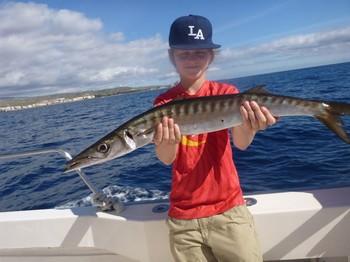 Barracuda - Noah from Norway shows his Barracuda Cavalier & Blue Marlin Sport Fishing Gran Canaria