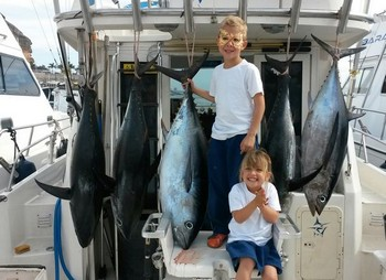 Tuna ! ! ! - 4 Bigeye and 1 Albacore Tuna Cavalier & Blue Marlin Sport Fishing Gran Canaria