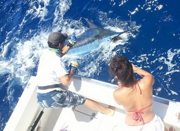 450 lbs Blue Marlin - Jude Crawford from Alabama released this marlin on the boat Cavalier Cavalier & Blue Marlin Sport Fishing Gran Canaria