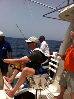 Hooked-up - Jos van Loo fighting a big eye tuna Cavalier & Blue Marlin Sport Fishing Gran Canaria