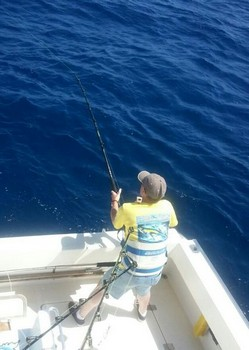 Stand-up - Martin is fighting his Spear fish on the Cavalier Cavalier & Blue Marlin Sport Fishing Gran Canaria
