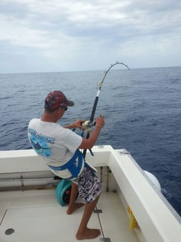 Hooked Up - Hafid 'stand-up' fighting a Blue Marlin on 50lbs Cavalier & Blue Marlin Sport Fishing Gran Canaria