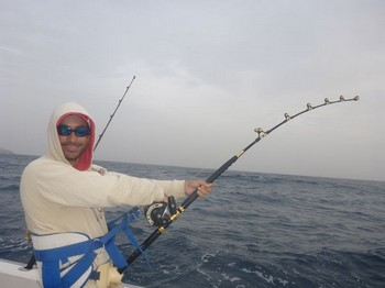 Hooked Up - Abraham is fighting a good sized Amberjack Cavalier & Blue Marlin Sport Fishing Gran Canaria