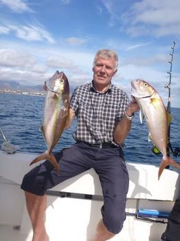 2 Amberjacks caught by Äke Eriksson from Sweden Cavalier & Blue Marlin Sport Fishing Gran Canaria