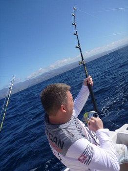 Hooked up - Tobias Rosén from Sweden is fighting an Albacore Tuna Cavalier & Blue Marlin Sport Fishing Gran Canaria