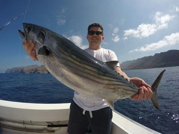 Bonito del Atlántico Norte capturado por Tomas Narboe desde Noruega Pesca Deportiva Cavalier & Blue Marlin Gran Canaria