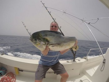 Well done - Big Dorado caught by Roelof on the boat Cavalier Cavalier & Blue Marlin Sport Fishing Gran Canaria