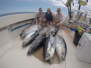Well done - Barry Rudge and his 2 sons Adam & Dan.on the boat Cavalier Cavalier & Blue Marlin Sport Fishing Gran Canaria