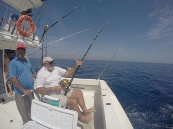 Hooked up - Johan from Holland fighting a Wahoo Cavalier & Blue Marlin Sport Fishing Gran Canaria