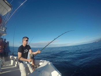 Hooked up - Alexander Hanika fighting a wahoo Cavalier & Blue Marlin Sport Fishing Gran Canaria
