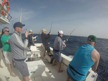 Hooked Up - 5 anglers hooked up at the same time Cavalier & Blue Marlin Sport Fishing Gran Canaria