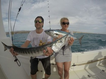 Nice Catch - Lina Carlsson and  Stein Are Nilsen both from Norway Cavalier & Blue Marlin Sport Fishing Gran Canaria