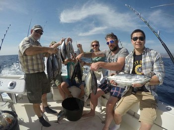 Skipjack Tuna - Satisfied anglers on board of the Cavalier Cavalier & Blue Marlin Sport Fishing Gran Canaria