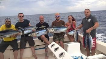 Nice Catch - Well done guys - 5 Albacore & 3 Skipjack Tuna Cavalier & Blue Marlin Sport Fishing Gran Canaria