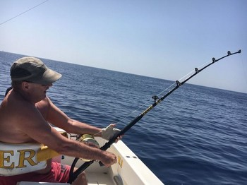 Hooked up - Siegfried Schmidt from Germany hooked up! Cavalier & Blue Marlin Sport Fishing Gran Canaria