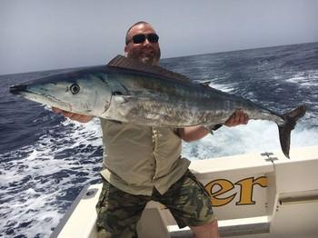 50 lb Wahoo caught by Kenneth Nielsen from Denmark Cavalier & Blue Marlin Sport Fishing Gran Canaria