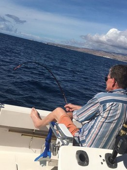 Hooked up - John Revett is fighting a Whopler Cavalier & Blue Marlin Sport Fishing Gran Canaria