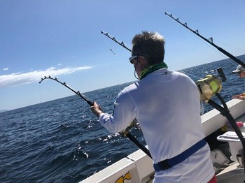 Hooked Up - Andrew Griffiths is fighting a Bluefin on 50lbs Cavalier & Blue Marlin Sport Fishing Gran Canaria
