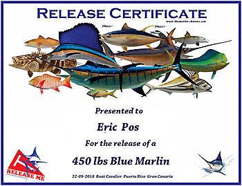 Catch or Release Certificate Cavalier & Blue Marlin Sport Fishing Gran Canaria