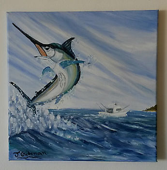 Blue Marlin painting Cavalier & Blue Marlin Sport Fishing Gran Canaria